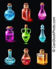 botellas, con, poción, conjunto
