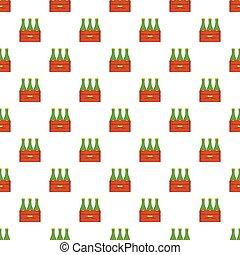 botellas de cerveza, en, caja de madera, patrón, caricatura, estilo