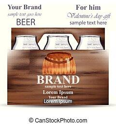 botellas de cerveza, en, de madera, box., producto, empaquetado, marca, vector, realista, ilustración