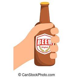 botellas de cerveza, en la mano, icono, diseño