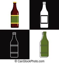 botellas de cerveza, vector, aislado, blanco, plano de fondo