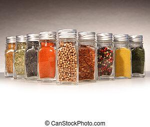 botellas, de, colorido, especias, con, gris