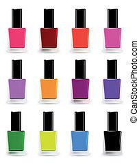 botellas, de, esmalte uñas, en, vario, shades., vector,...