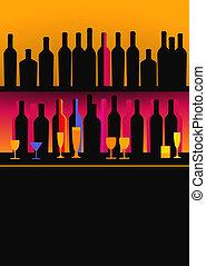 botellas, de, espíritus, y, licor