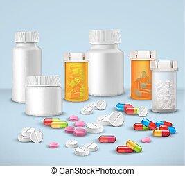 botellas de la píldora, conjunto