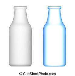 botellas de leche, aislado, blanco
