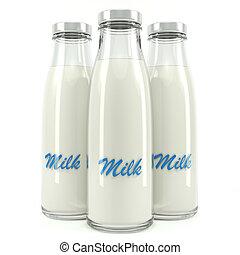 botellas de leche, aislado