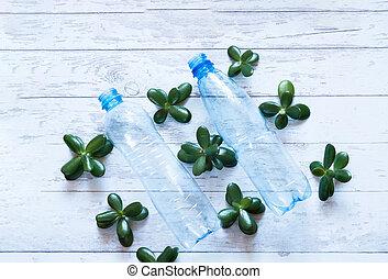 botellas, de madera, reciclaje, plástico, fondo., vacío