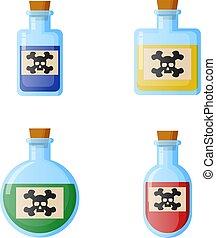botellas, de, potion., para, tela, juego, ciencia, y, médico