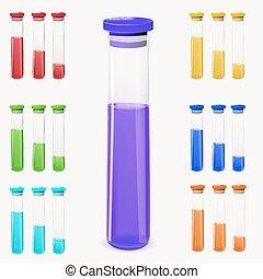 botellas, de, potion., vector, illustration.