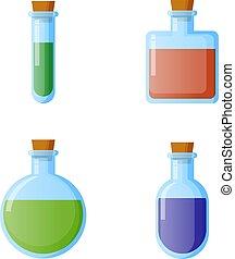 botellas, de, potion., vector, illustration., para, tela, juego, ciencia, y, médico