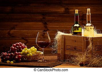 botellas, de, rojo y blanco, vino, en, un, de madera,...