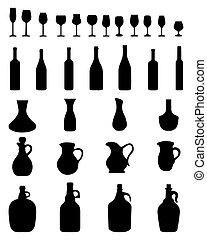 botellas de vino, anteojos