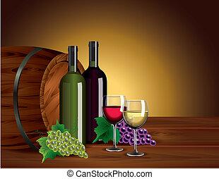 botellas de vino, anteojos, uvas, y, barril