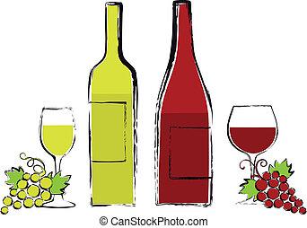 botellas de vino, con, anteojos, y, uva