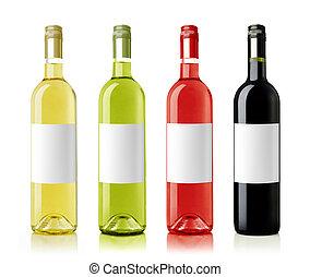botellas de vino, con, etiquetas, assortments