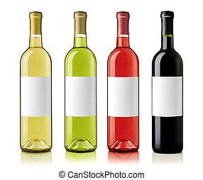 botellas de vino, con, etiquetas