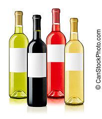 botellas de vino, con, etiquetas, surtido