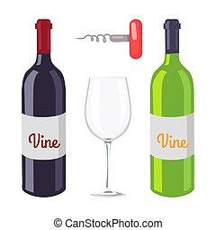 botellas de vino, y, sacacorchos, vector, ilustración