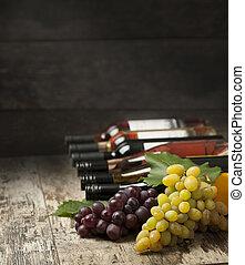 botellas de vino, y, uva