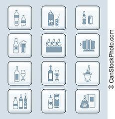 botellas, iconos, serie, bebida, tecnología, |