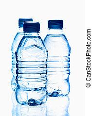 botellas, mineral, agua primavera, purificado, reflexión