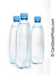 botellas, mineral, aislado, plástico, agua, plano de fondo, blanco