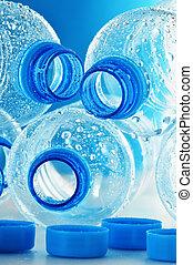 botellas, mineral, plástico, agua, polycarbonate, composición, vacío