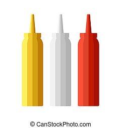 botellas, mostaza, set., ilustración, catroon, vector, ...