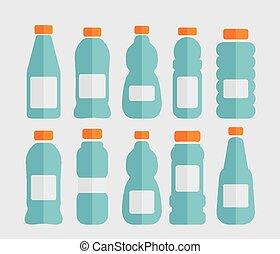 botellas plásticas, conjunto
