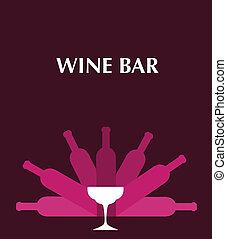 botellas, plantilla menú, barra, gafas vino