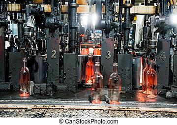 botellas, proceso, botella de vidrio, elaboración, fábrica