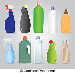 botellas, productos, limpieza