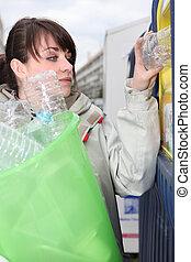 botellas, reciclaje, morena, plástico