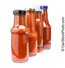 botellas, salsade tomate