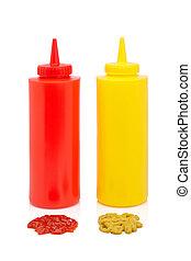 botellas, salsade tomate, mostaza