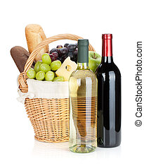 botellas, uva, bread, cesta, picnic, queso, vino