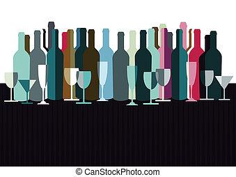 botellas, vino, espíritus
