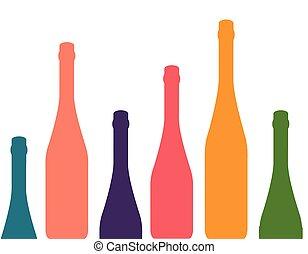 botellas, vino, plano de fondo