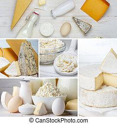 boter, kaas, melk, eitjes, room, collage., yoghurt, zuur, producten, melkinrichting