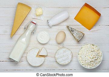 boter, kaas, melk, room, houten, -, yoghurt, zuur, producten, ei, huisje, tafel, assortiment, kaas, melkinrichting