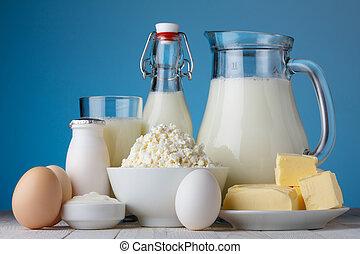 boter, melk, eitjes, producten, houten, yoghurt, zuur, melkinrichting, huisje, tafel, kaas, room