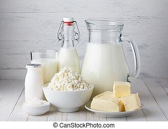 boter, melk, producten, houten, yoghurt, zuur, melkinrichting, huisje, tafel, kaas, room
