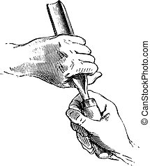 Both hands holding the gouge, vintage engraving. - Both...