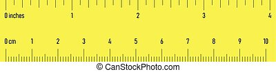 Both side ruler with scales in centimeters and inches. Yellow vector illustration