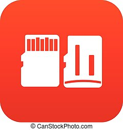 Both sides of SD memory card icon digital red for any design...