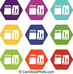 Both sides of SD memory card icon set color hexahedron -...