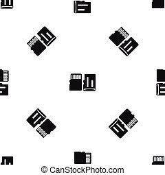 Both sides of SD memory card pattern seamless black - Both...
