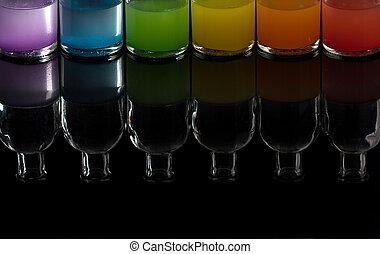 boticario, laboratorio, botellas, con, líquido coloreado, con, reflexión