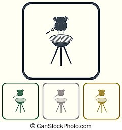 boties3_1 - barbecue grill with chicken icon. Vector...